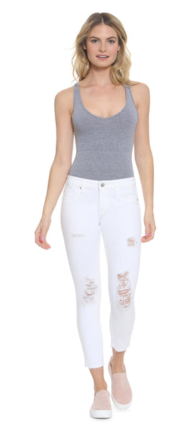 White Chelsea Released Hem Crop Skinny