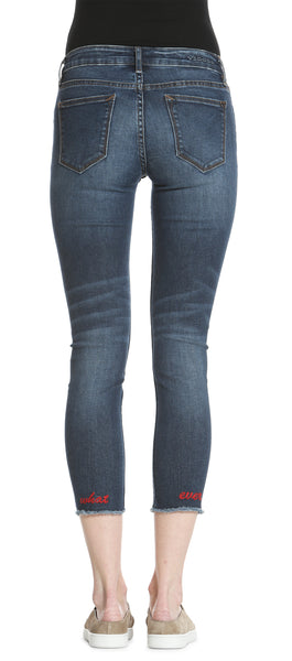 Jagger Classic Fit Skinny - Med Wash Embroidered