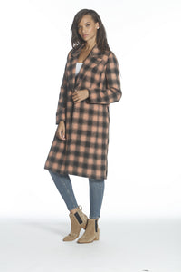 Wool Plaid Coat - Pink/Black