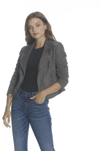 Faux Suede Moto Jacket - Gray