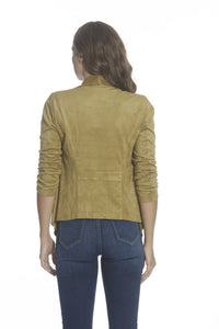 Faux Suede Wrap Jacket - Golden