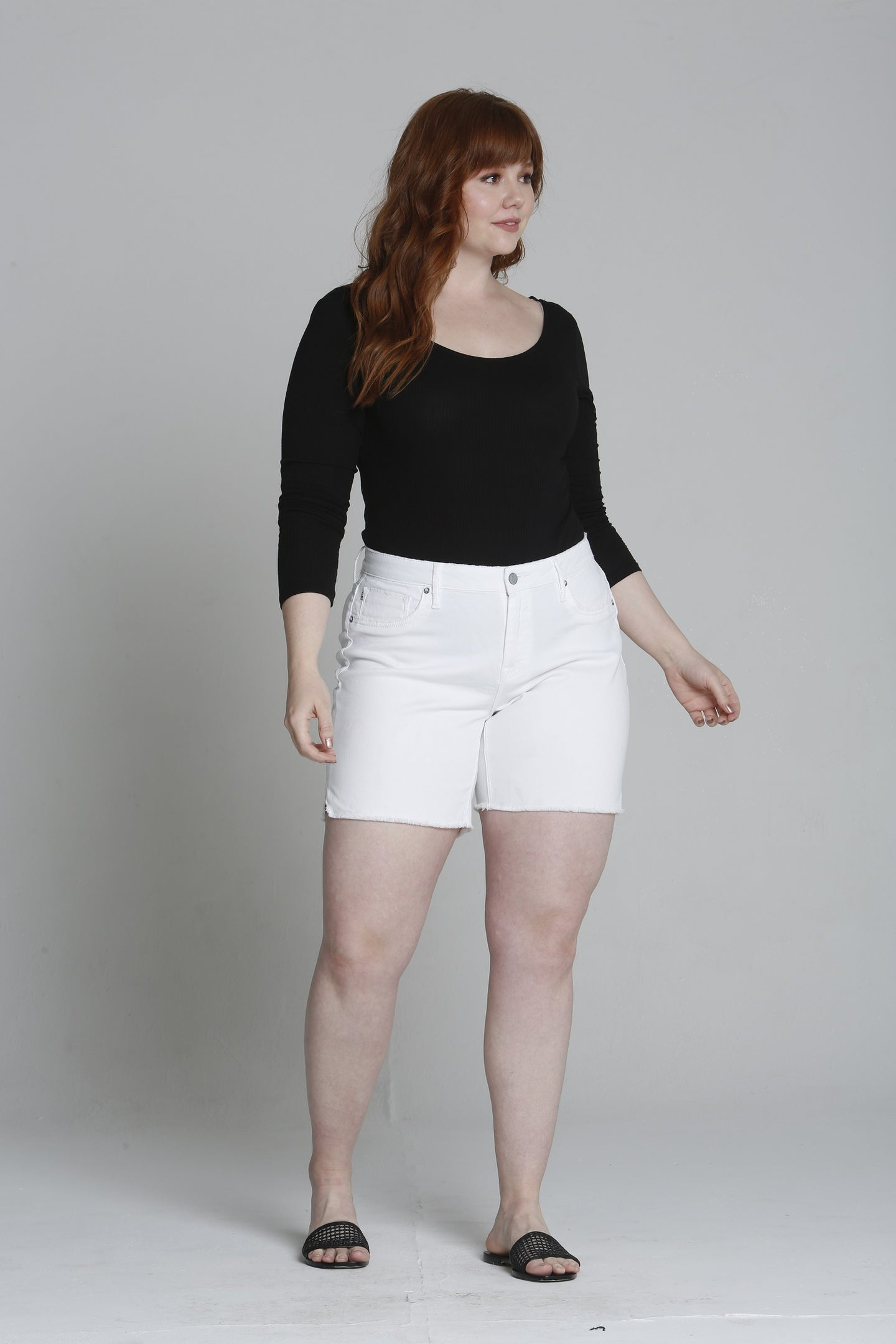 Marley Mid Rise  Bermuda [Plus Size] - White