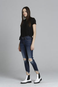 Jagger Destructed Hem Skinny - Dark