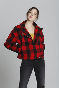 Buffalo Plaid Moto - Red
