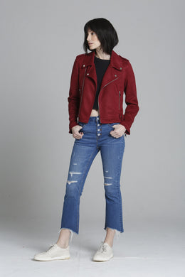 Faux Suede Moto Jacket - Dark Red