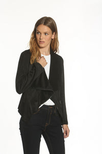 Faux Suede Wrap Jacket - Black