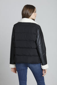 PU Sleeve Puffer - Black