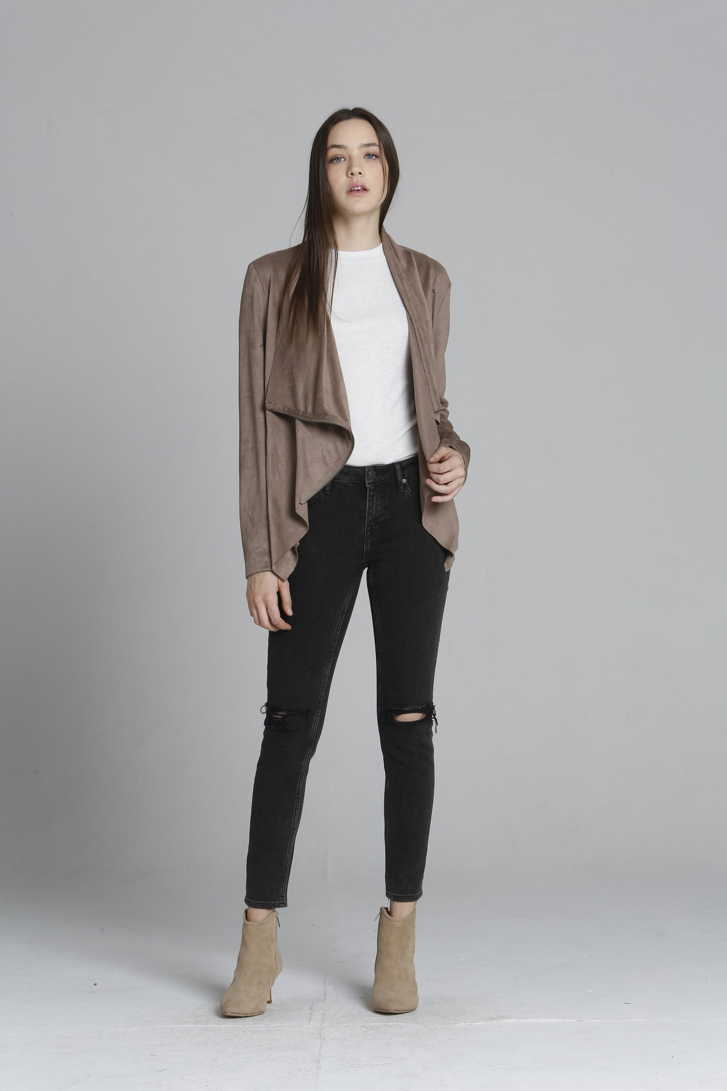Faux Suede Wrap Jacket - Taupe