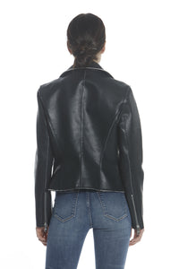 Leather Moto Jacket - Black/Cream