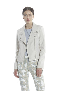 Nylon Moto Jacket - White