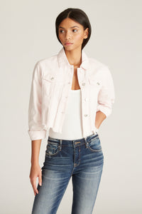 Crop Denim Jacket - Blush