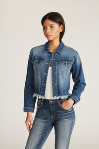 Fray Crop Denim Jacket - Dark
