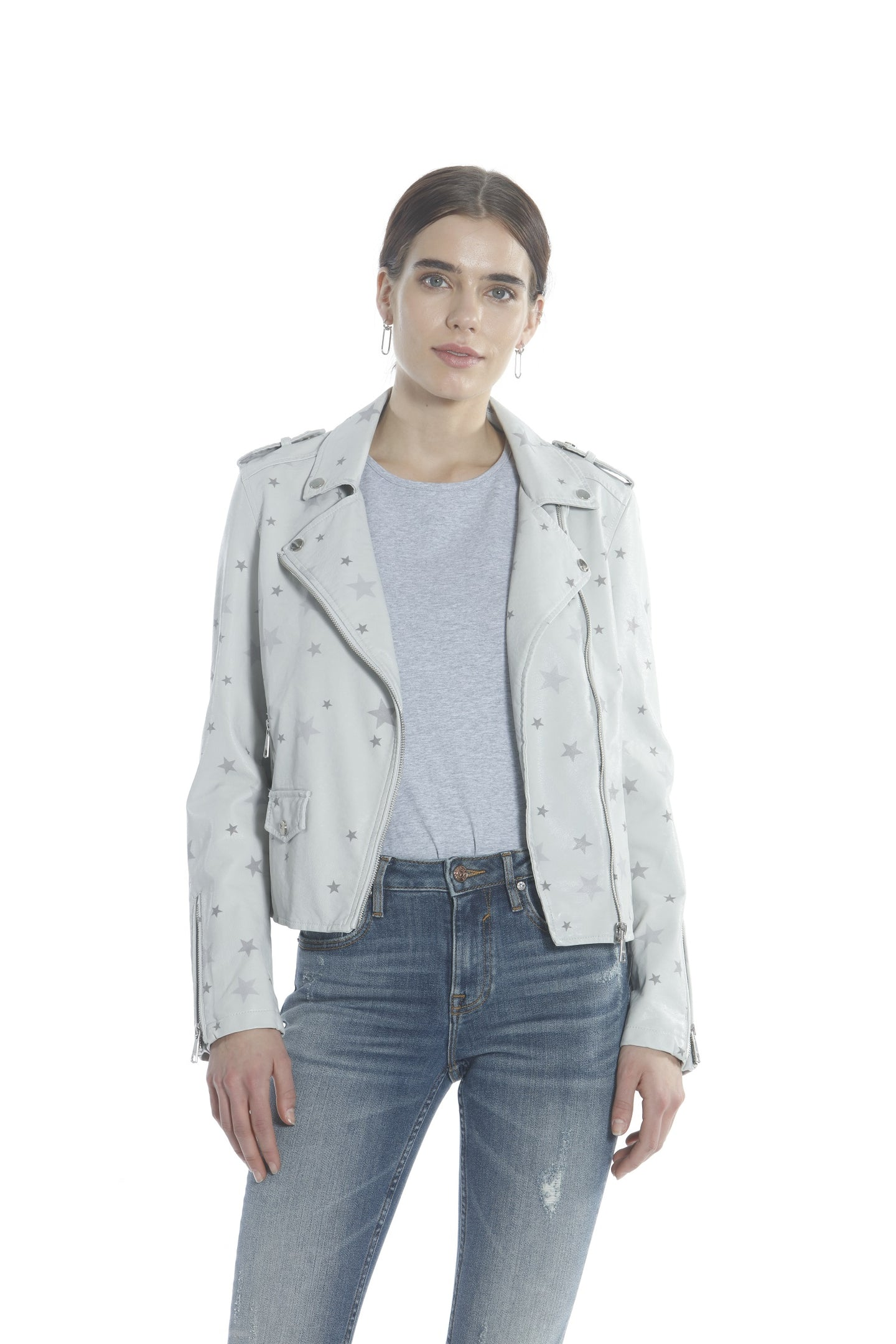 Star PU Moto Jacket - Light Grey