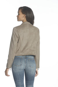Faux Moto Jacket - Taupe