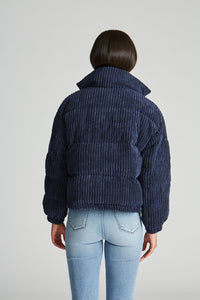 Cord Puffer Jacket - Navy