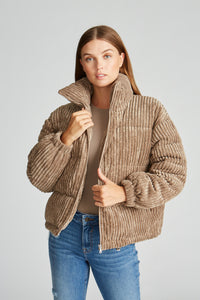 Cord Puffer Jacket - Taupe