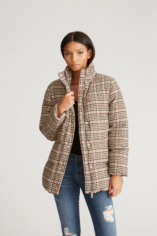Multi Plaid Puffer Jacket