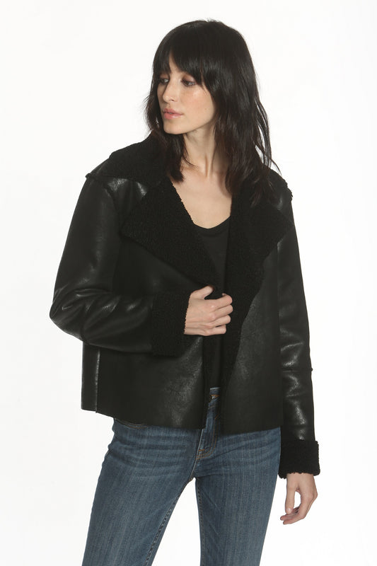Faux Shearling Jacket - Black