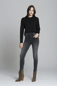 Ace Exposed Button Front - Washed Black