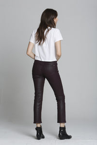 Stevie Crop Straight - Burgundy Coated