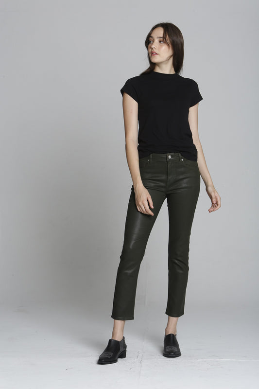 Stevie Crop Straight - Olive Coated