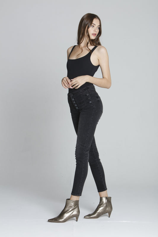 Marley Mid Rise Skinny - Washed Black