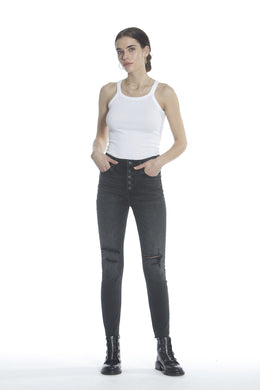 Ace High Rise Skinny - Washed Black