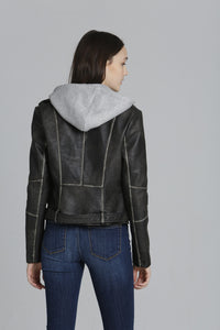 Knit Hood PU Washed Moto