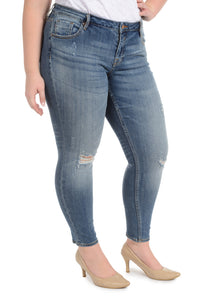 Jagger Destructed Skinny [Plus Size] - Med Wash