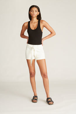 Sara High Rise Belted Short - White