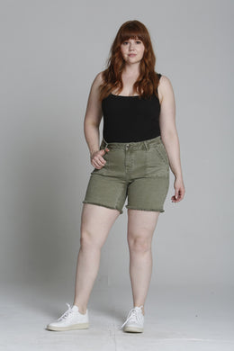 Marley Mid Rise Chino Short [Plus Size] - Olive