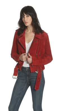 Suede Moto Jacket - Red