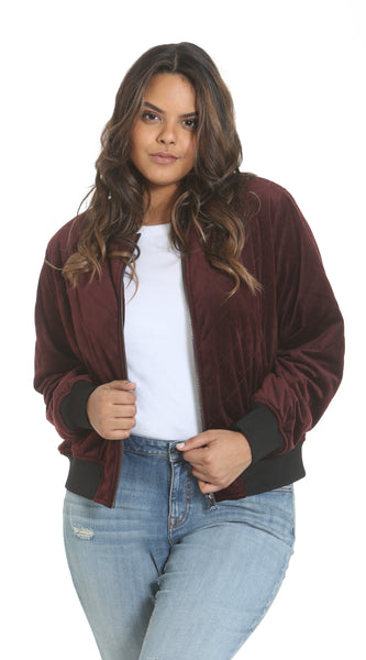 Velvet Bomber Plus - Burgundy