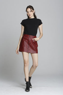 Snake Print PU Mini Skirt - Red
