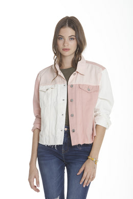 Color Block Denim Jacket - Pink/White