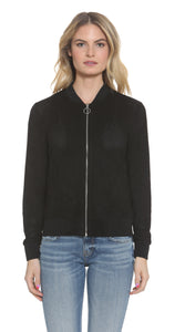 Image of a woman wearing a zipped ladies' suede jacket from Vigoss
