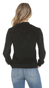 An image of the back of the Vigoss ladies' suede jacket in black from Vigoss