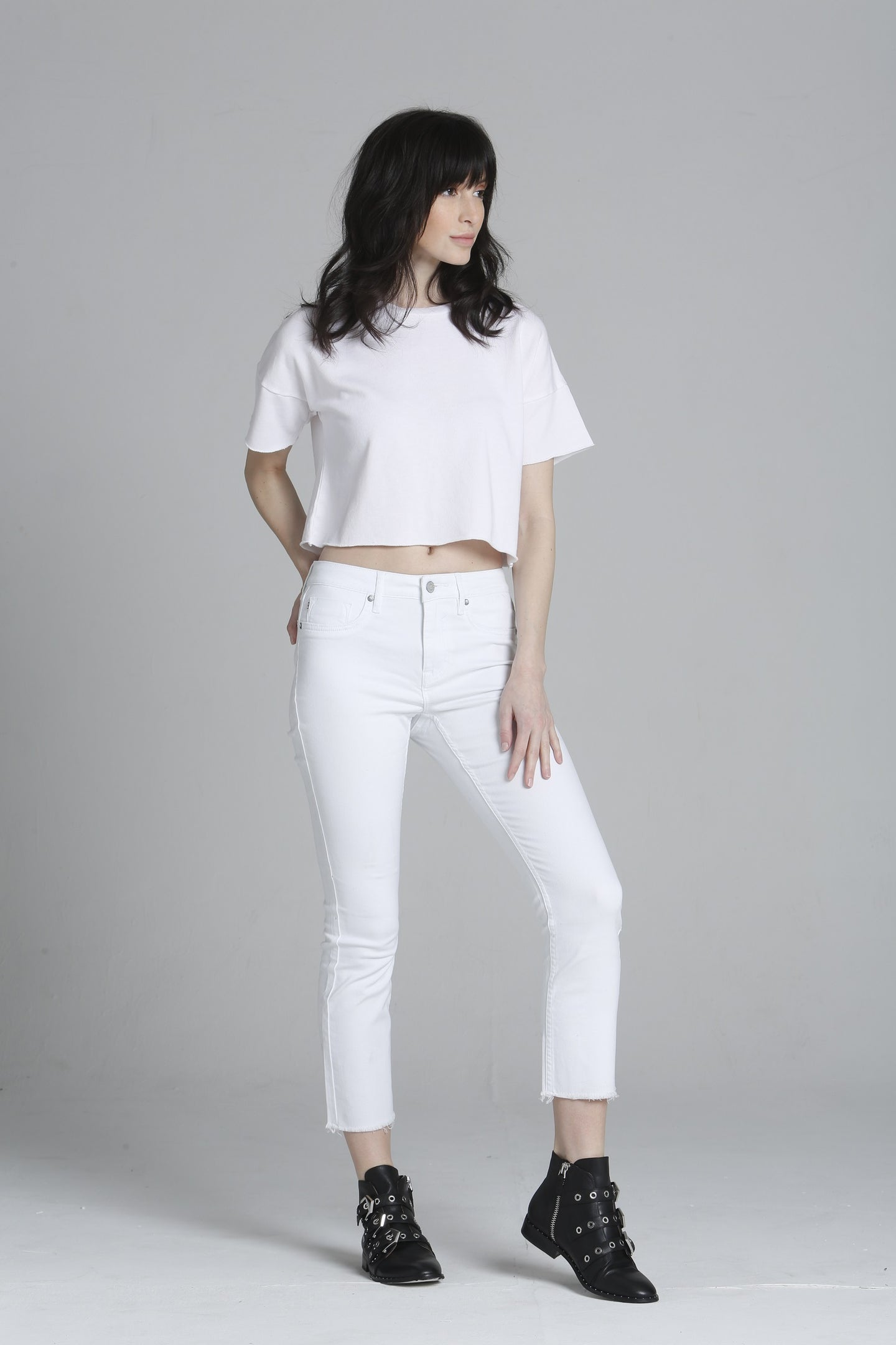 Stevie Crop Straight - White