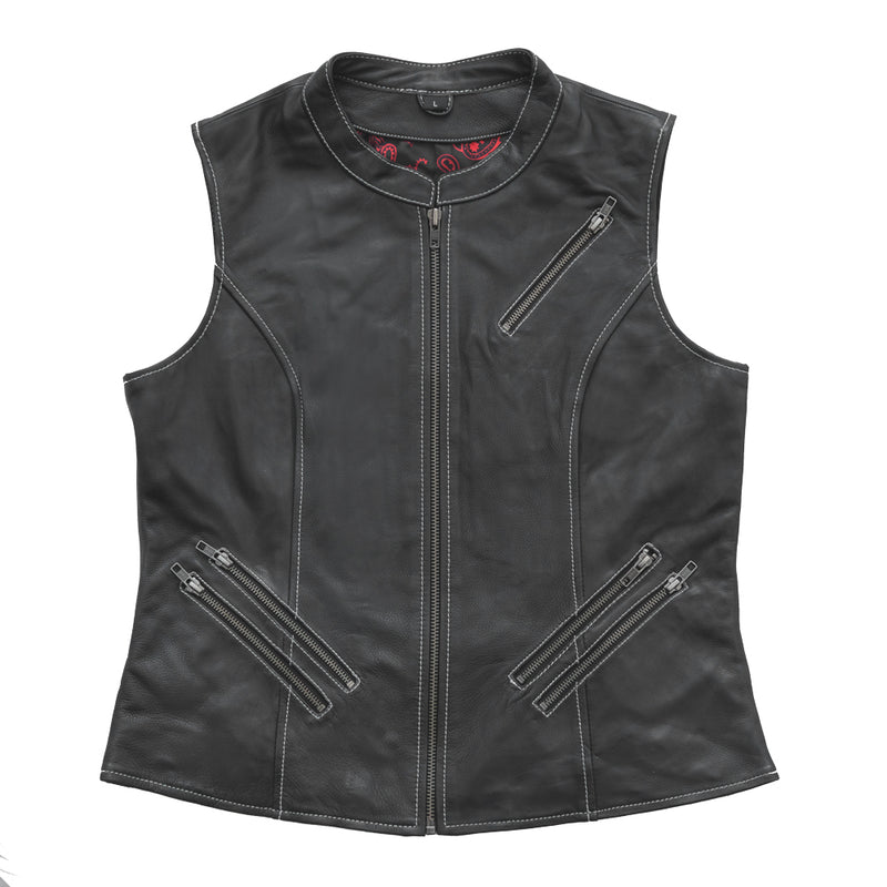 Quinn - Women's Club Style Leather Vest (Limited Edition)