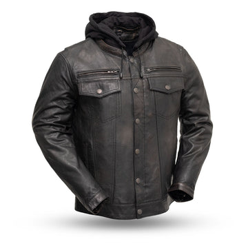 Men Biker Leather Hanover Center zipper Collar Motorcycle Jacket by Firstmfg