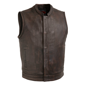Top Rocker - Men's Leather Motorcycle Vest