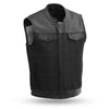 The 49/51 - Men's Motorcycle Denim & Leather Combo Vest