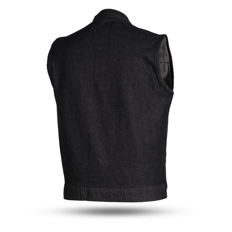 Kershaw - Men's Denim Motorcycle Vest - Black