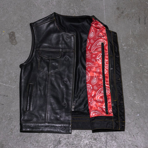 M - No Rival - Red Bandanna Front / Tan Stitch