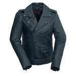 Rebel - Women's Fashion Leather Jacket (Navy Blue)
