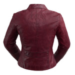 Rexie - Women's Fashion Leather Jacket (Sangria)