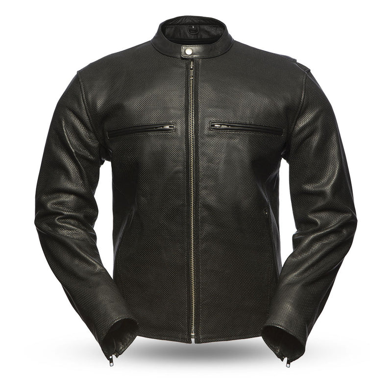 The Turbine - Men's Motorcycle Perforated Leather Jacket
