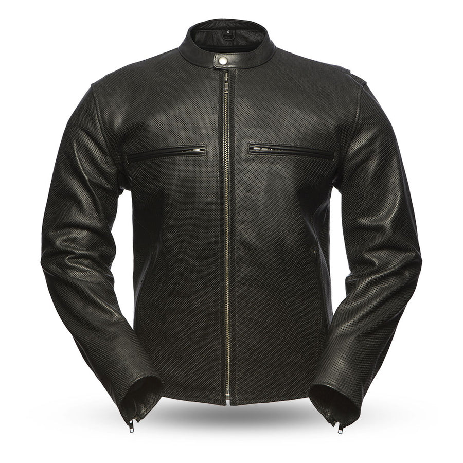 Turbine -  Men's Perforated Leather Motorcycle Jacket