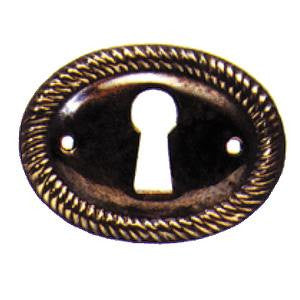 008h rope edge horizontal escutcheon in antique brass - ABC Ironmongery