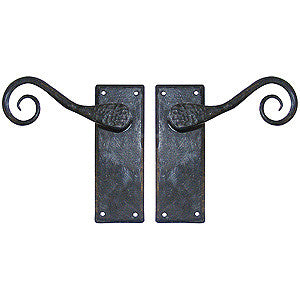 "Hand forged lever handle 5½"" x 2"" in black waxed finish - ABC Ironmongery"